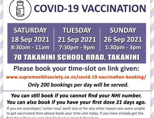 Covid-19 Vaccination on 18, 21, 26 Sep 2021